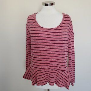 We The Free Pink Purple Striped Peplum Top Small